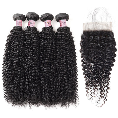 Lolly Hair 9A Sew-in Hair Extensions Peruvian Kinky Curly Hair 4 Bundles with Lace Closure 100% Real Virgin Hair Bundles Swiss Lace Closure With Baby Hair Best Online Virgin Hair : LOLLYHAIR