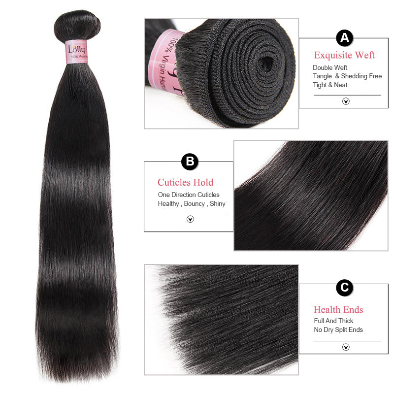 Lolly Hair 100% Unprocessed Natural Virgin Peruvian Straight Hair 4 Bundles with 4x4 Closure 9A Virgin Remy Hair : LOLLYHAIR