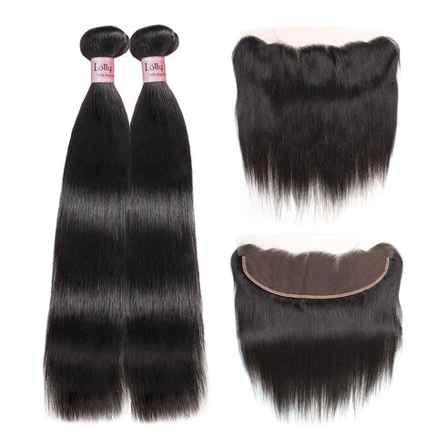 Lolly Brazilian Straight Wave Virgin Hair With 13*4 Lace Frontal Closure 9A : LOLLYHAIR