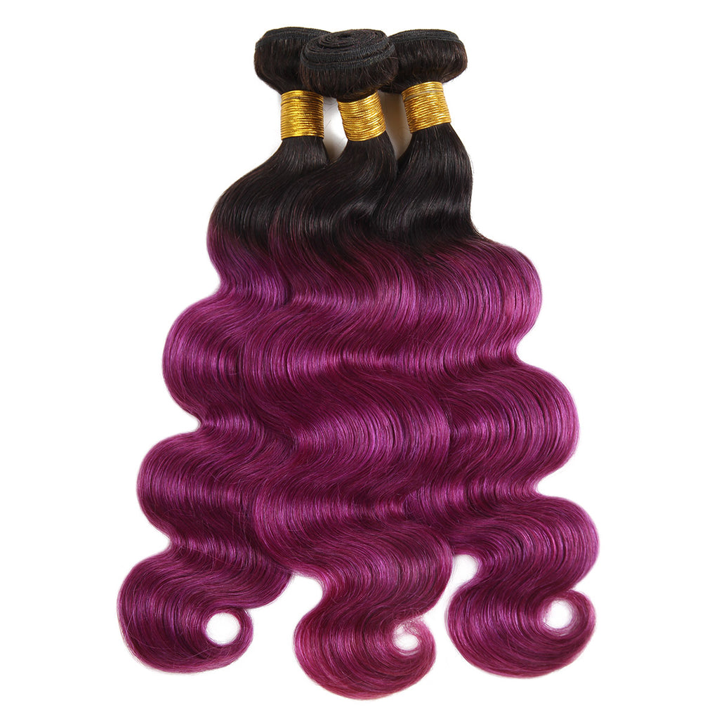 Lolly Hair T1B/BUG Brazilian Human Pre-colored Body Wave Virgin Human Hair Extensions 3 Bundles 300g : LOLLYHAIR