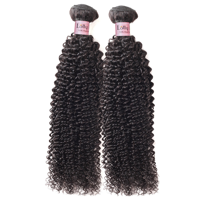 Lolly Indian Unprocessed Virgin Kinky Curly Human Hair 2 Bundles With 13*4 Lace Frontal Closure : LOLLYHAIR