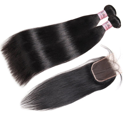 Lolly 9A Indian Straight Virgin Hair 2 Bundles With 4x4 Lace Closure : LOLLYHAIR