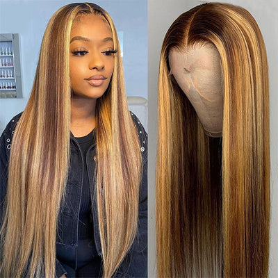 Highlight Wig Brown Colored Human Hair Wigs 13X4 Ombre Straight Lace Front Wig