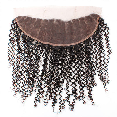 Lolly Hair Indian Virgin Human Hair Lace Frontal Closure Hair Kinky Curly Human Hair 13x4 Ear to Ear Lace Frontal : LOLLYHAIR