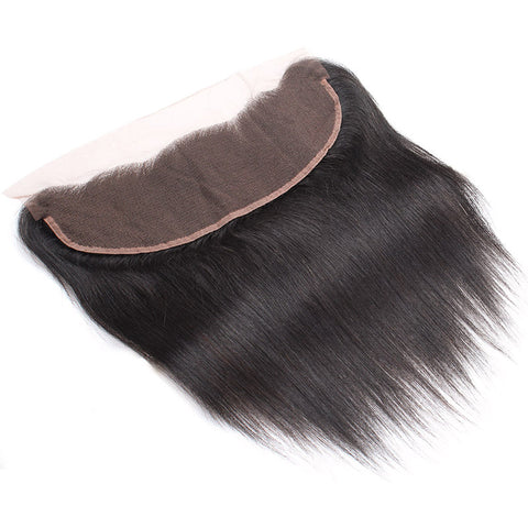 LollyHair 1Pc Indian 9A Virgin Human Hair Indian Remy Straight Hair Weave 13x4 Ear To Ear Lace Frontal : LOLLYHAIR