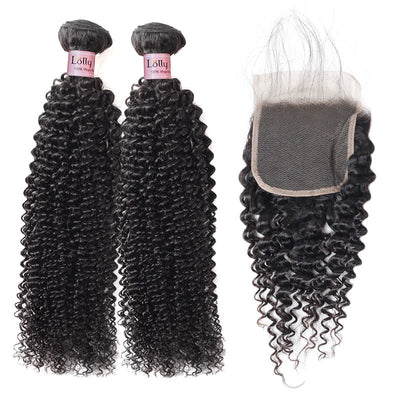 Lolly 9A Brazilian Virgin Human Hair Kinky Curly 2 Bundles With 4*4 Lace Closure : LOLLYHAIR