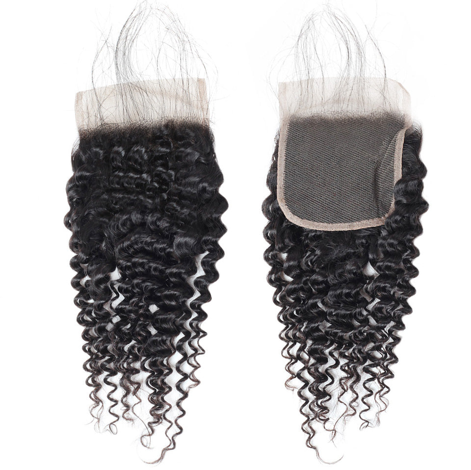 Lollyhair 9A Brazilian Kinky Curly Human Hair 4x4 Pre-Plucked Lace Closure With Baby Hair : LOLLYHAIR