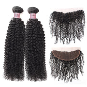Lolly 9A Malaysian Curly Virgin Human Hair 2 Bundles With 13x4 Lace Frontal Closure : LOLLYHAIR