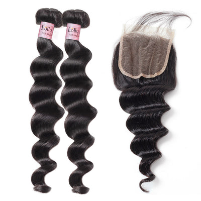 9A Lolly Peruvian Loose Deep Wave Virgin Human Hair Bundles With 4*4 Lace Closure : LOLLYHAIR