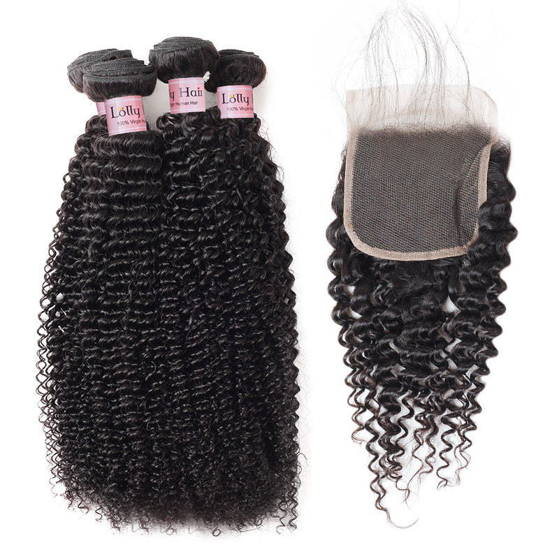 Lolly Hair 100% Real Brazilian Kinky Curly Hair 4 Bundles with Lace Closure Baby Hair Virgin Human Hair Extensions Wholesale : LOLLYHAIR
