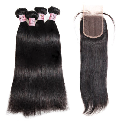 Lolly Hair Unprocessed Natural Brazilian Straight Virgin Hair Weave 4 Bundles With Lace Closure Best Straight Hair Extensions : LOLLYHAIR