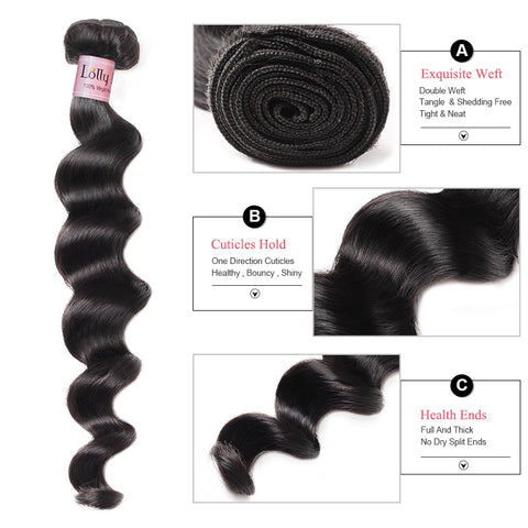 Lolly Hair 100% Brazilian Loose Deep Wave Hair 4 Bundles Loose Deep Wave with 4x4 Lace Closure : LOLLYHAIR