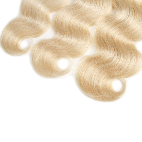 Lolly Hair 4Pcs Dark Root Body Wave Human Hair Weave Ombre Blonde 613# Natural Virgin Hair Extensions Unprocessed Body Wave 4 Bundles : LOLLYHAIR