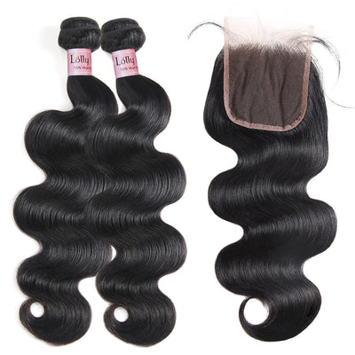 Lolly 9A Peruvian Body Wave Human Hair 2 Bundles With 4*4 Lace Closure : LOLLYHAIR