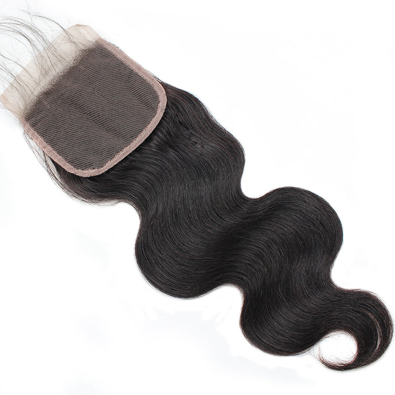 LollyHair Good Indian Body Wave Remy Hair Lace Closure 1Pc Indian Virgin Human Hair Weave Closure : LOLLYHAIR