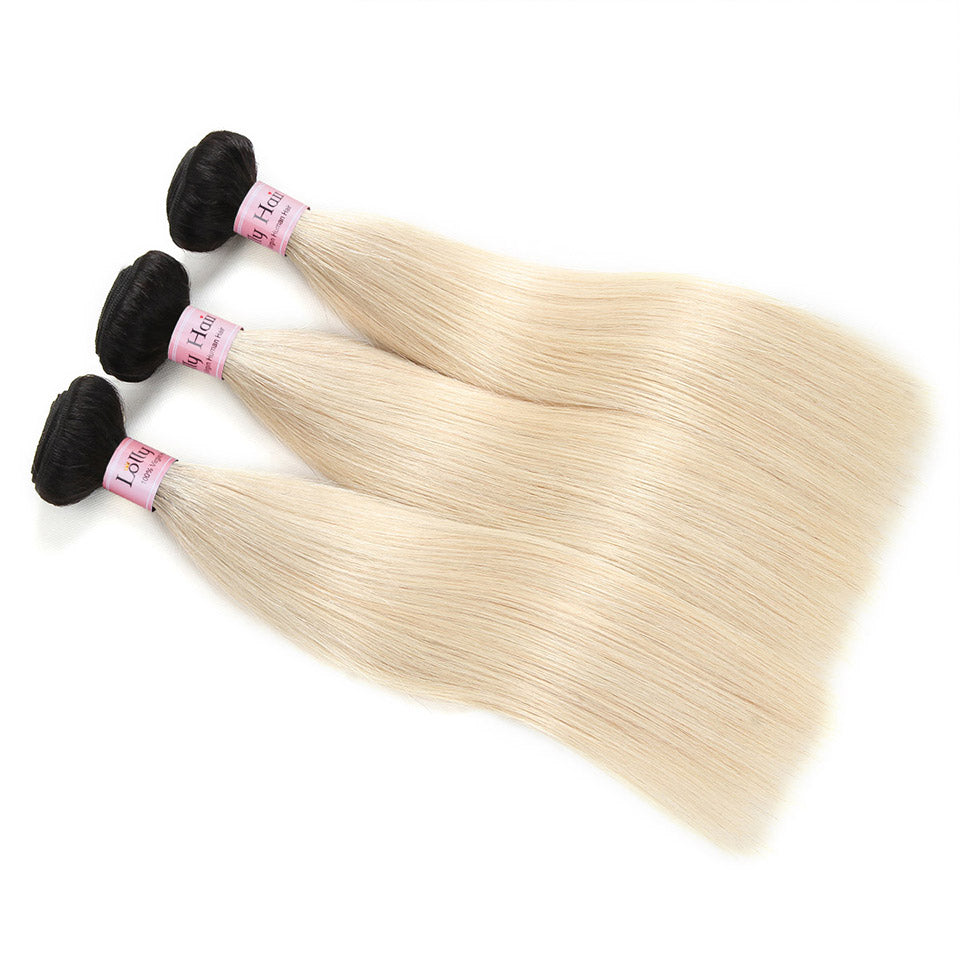 Lolly 9A Virgin Huamn Hair Bundles Remy Straight Hair 1B/613 Blonde Dark Roots Human Hair Extensions : LOLLYHAIR