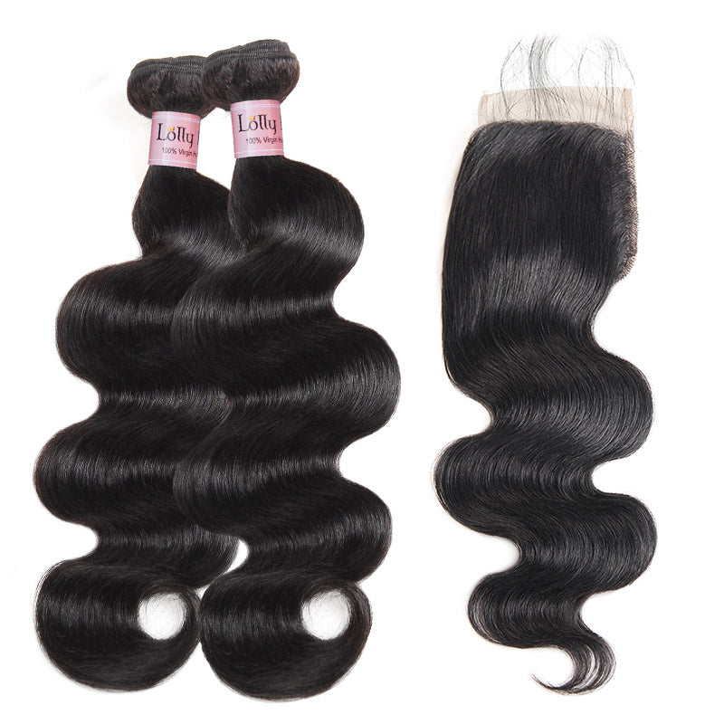Lolly 100% Virgin Indian Body Wave Hair 2 Bundles With 4*4 Lace Closure 9A : LOLLYHAIR