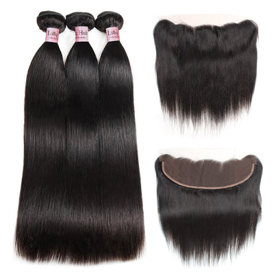 LollyHair 9A Indian Human Hair Extensions Straight Virgin Hair Bundles Deal with 13*4  Ear to Ear Lace Frontal : LOLLYHAIR