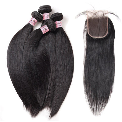 Lolly Hair 100% Malaysian Virgin Hair 4pcs Straight Human Hair Bundles with Closure : LOLLYHAIR