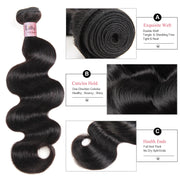 LollyHair Malaysian Virgin Hair Human Hair Extensions Body Wave Weft Hair Bundle Deals 300g With 13x4 Lace Frontal Closure Hair : LOLLYHAIR