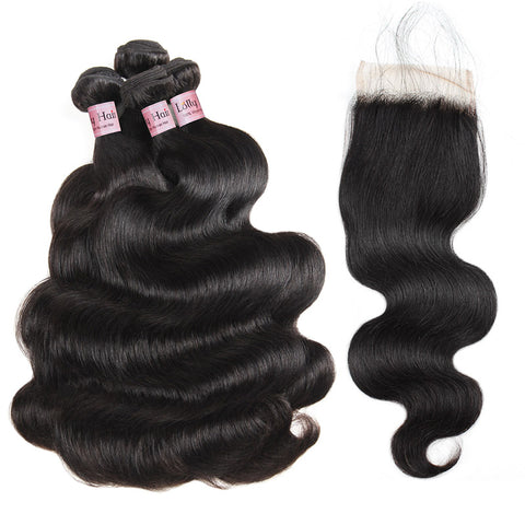Lolly Hair Natural Peruvian Body Wave Virgin Hair 8-28 inch 4 Bundles with Lace Closure 100% Virgin Peruvian Body Wave Extensions 4 Bundles Virgin Remy Hair : LOLLYHAIR