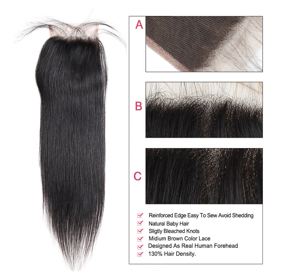 Lolly Hair Brazilian Straight Virgin Human Hair Lace Closure 4x4 Remy Hair Closure with Baby Hair : LOLLYHAIR