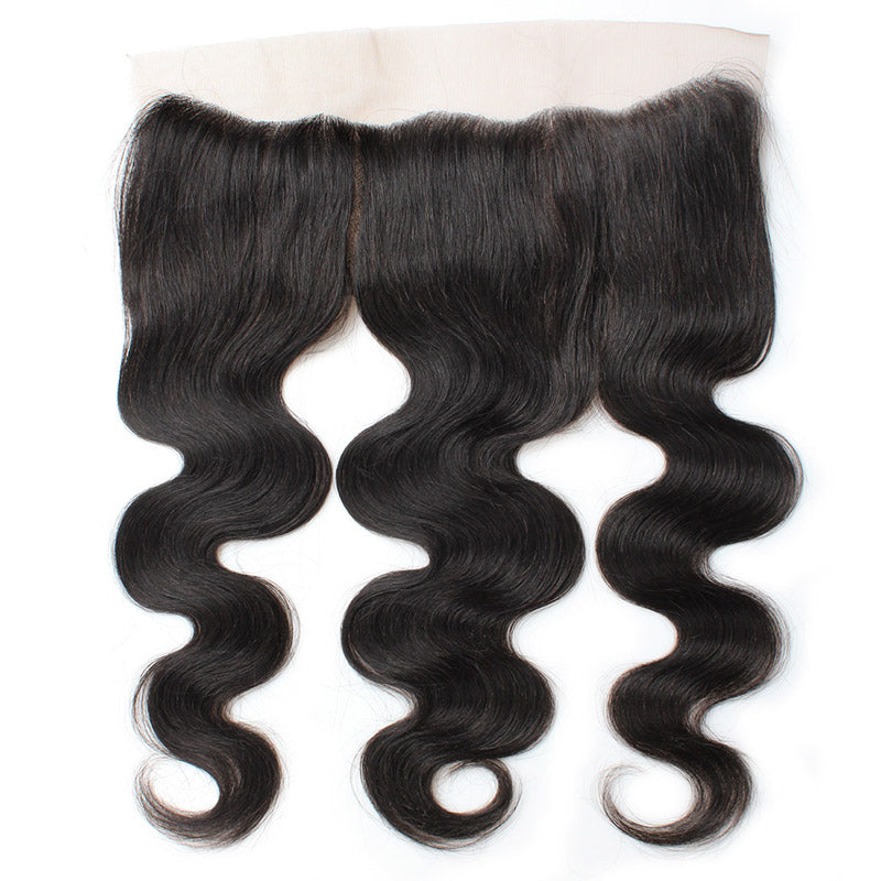 LollyHair 1Pc Indian Remy Hair Weft Natural Indian Body Wave Virgin Hair 13x4 Ear To Ear Lace Frontal : LOLLYHAIR