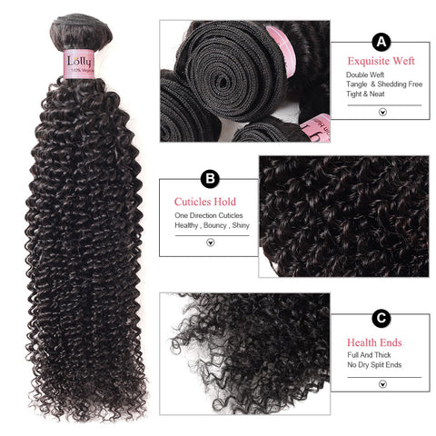 Lolly Hair Peruvian Unprocessed Kinky Curly Human Hair 2 Bundles With 13x4 Lace Frontal Closure 9A : LOLLYHAIR