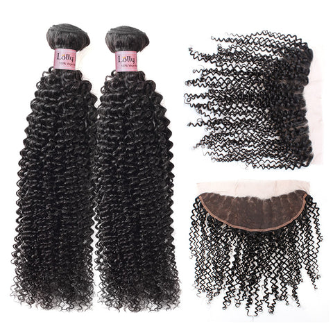 Lolly 9A Virgin Brazilian Kinky Curly Human Hair Bundles With 13x4 Lace Frontal Closure : LOLLYHAIR