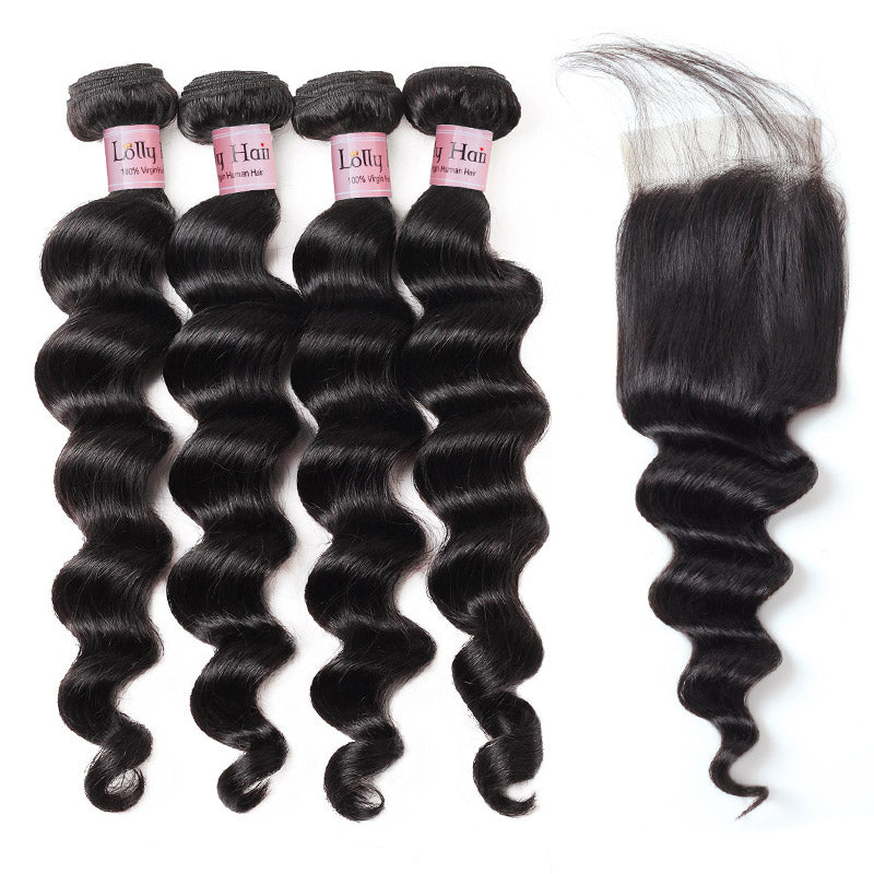 Lolly Hair Virgin Human Loose Deep Wave Weave 9A Peruvian Virgin Hair 4 Bundles Loose Deep Wave with a Closure with Baby Hair Shipping Worldwide : LOLLYHAIR