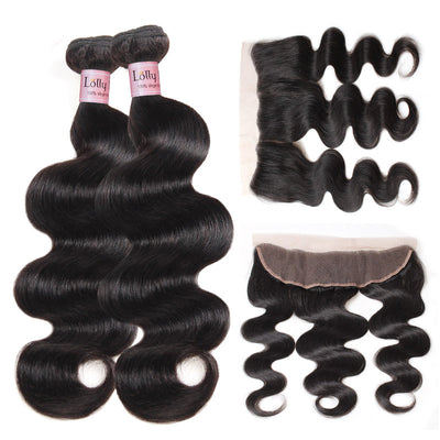 Lolly Indian Body Wave Human Hair 2 Bundles With 13x4 Lace Frontal Closure 9A : LOLLYHAIR