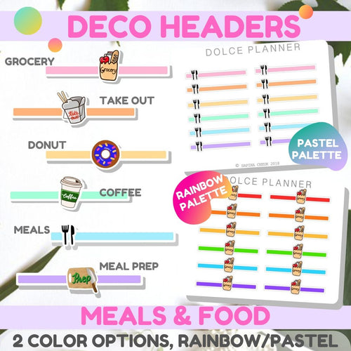 Deco Headers Meals and Food for Passion Planners