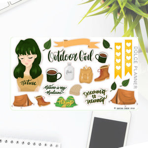 Hiking, Camping, Outdoors Girl Stickers