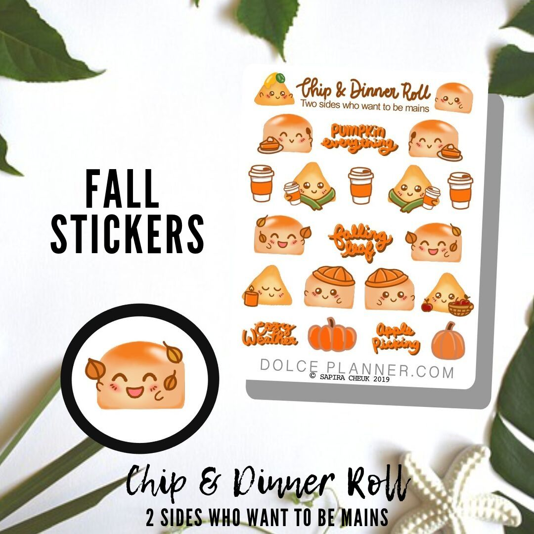 Fall Chip & DInner Roll Character Planner Sticker