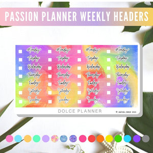 Weekday Covers for Passion Planner