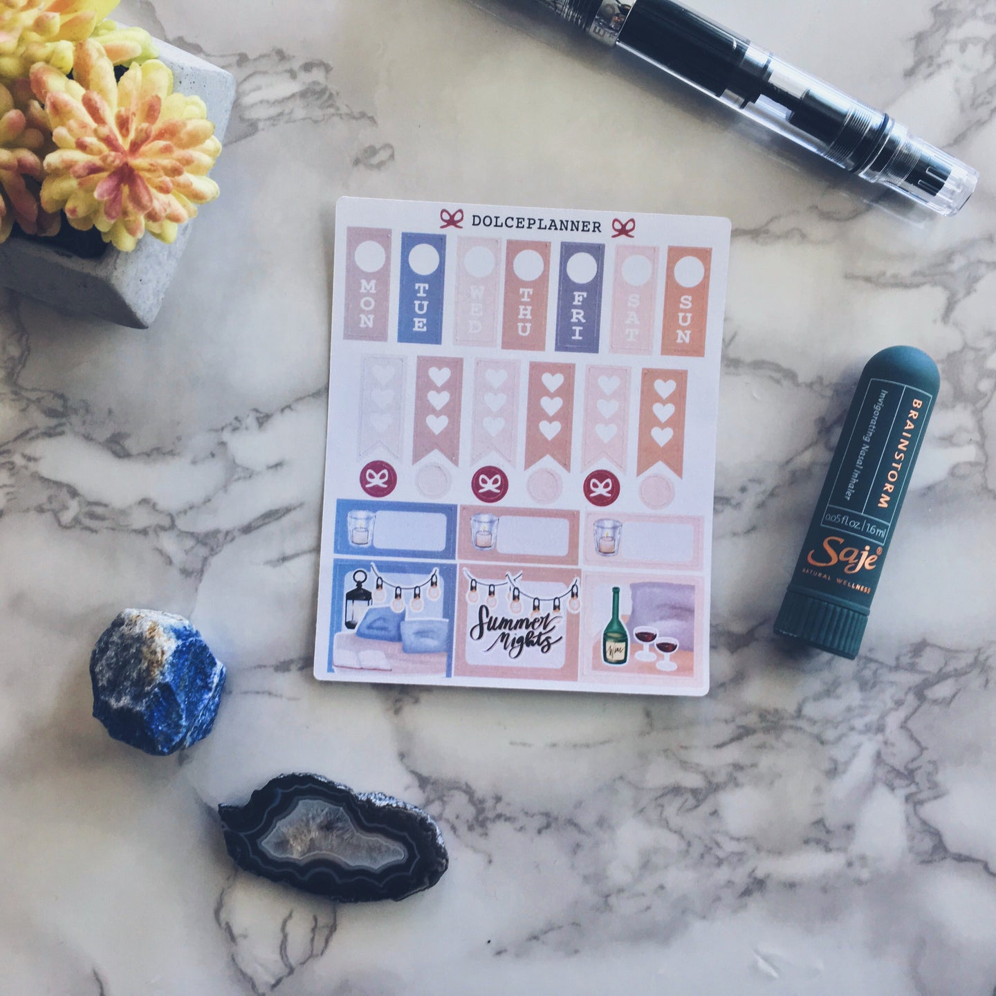 Summer Nights Hobonichi Weeks Mini Kit Planner Stickers