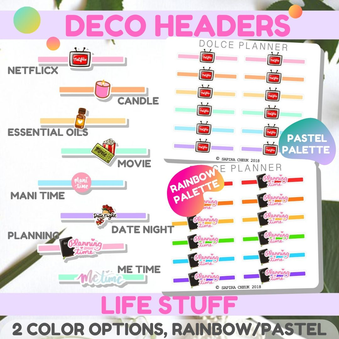 Deco Headers Life Stuff for Passion Planners