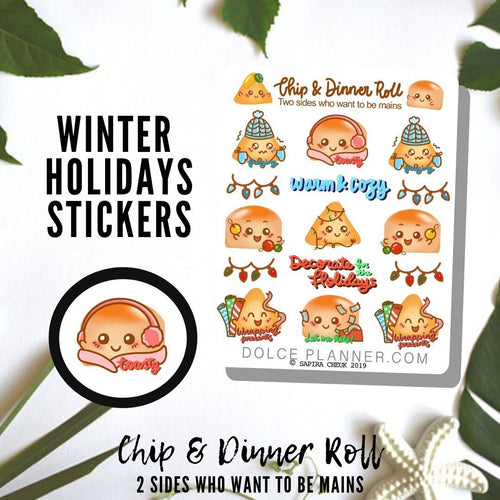 Winter Fall Chip & DInner Roll Character Planner Sticker