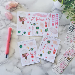 Sakura Cherry Blossom Planner Girl Sticker Kit
