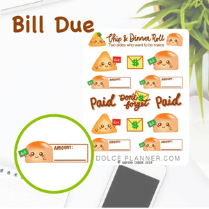 Bill Due Chip & DInner Roll Character Planner Sticker