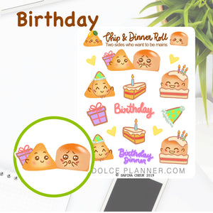 Birthday Chip & DInner Roll Character Planner Sticker
