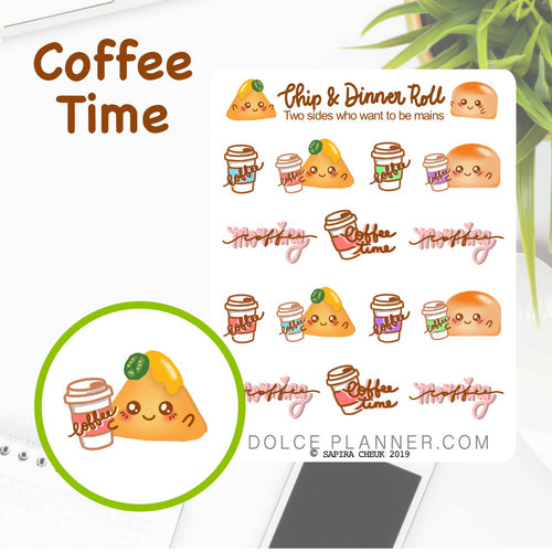Coffee Time Chip & DInner Roll Character Planner Sticker