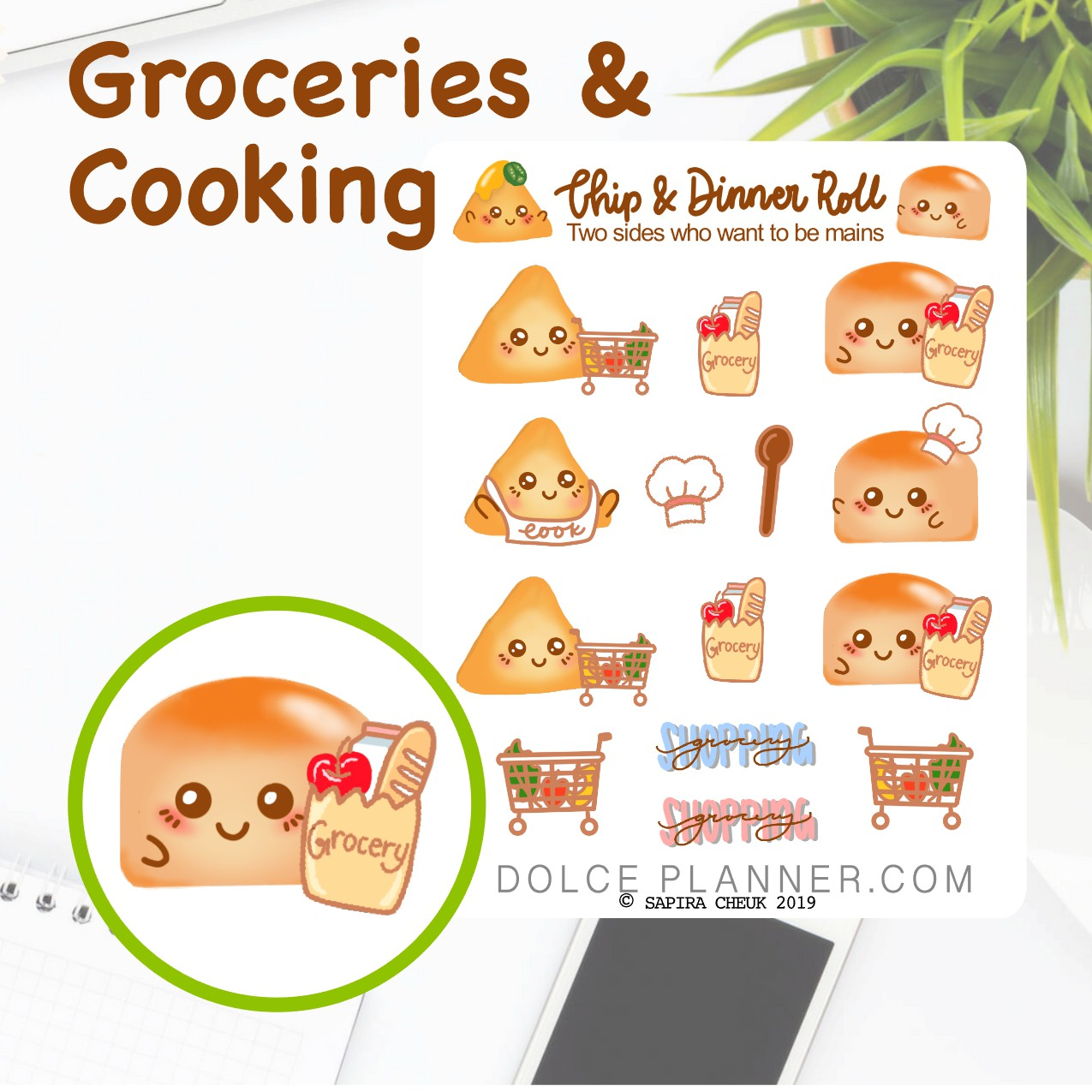 Groceries and Cooking Chip & DInner Roll Character Planner Sticker