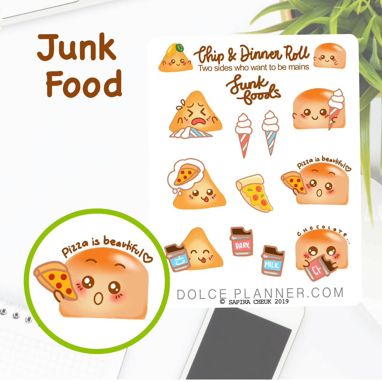 Junk Food Chip & DInner Roll Character Planner Sticker