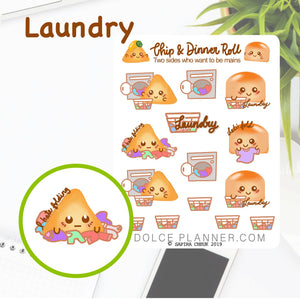 Laundry Day Chip & DInner Roll Character Planner Sticker