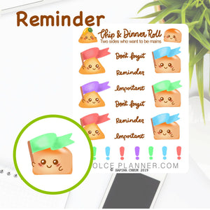 Reminder and Important Dates Flag Chip & DInner Roll Character Planner Sticker