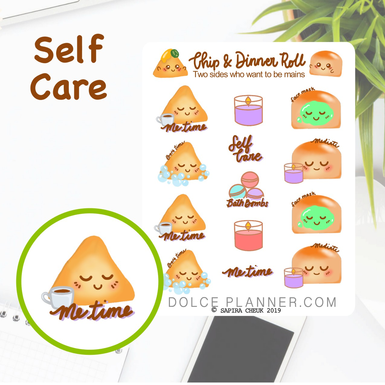 Self Care, Me Time Chip & DInner Roll Character Planner Sticker