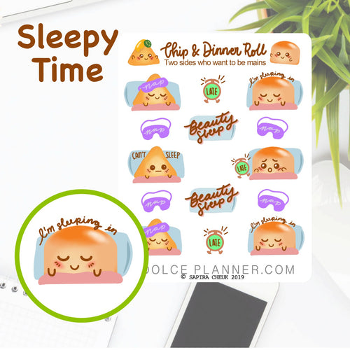 Sleep and Nap Time Chip & DInner Roll Character Planner Sticker