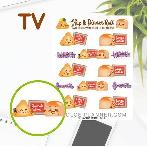 Netflix, Binge Watch, TV, Chip & DInner Roll Character Planner Sticker