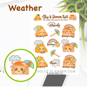 Weather Chip & DInner Roll Character Planner Sticker